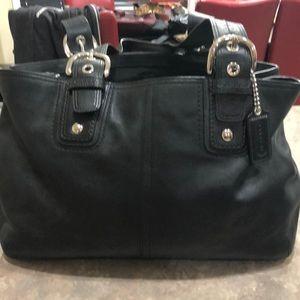 Coach genuine black leather tote